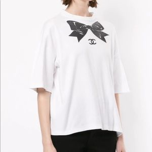 Rare Chanel Vintage 1987 White Bow Print T-Shirt